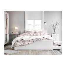 BRUSALI Bed frame with 4 storage boxes White luröy Standard Double