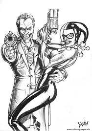 Small Picture Joker And Harley Quinn Coloring Pages Kids Coloring Joker And