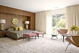 Pastel Mid Century Bedroom with Wood Panel