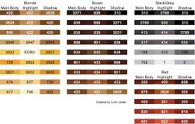 Anchor Cross Stitch Thread Colour Chart Find The Perfect Hair Color Dmc Threads Lord Libidan