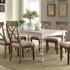 aberdeen wood rectangular dining table in weathered worn white humble abode