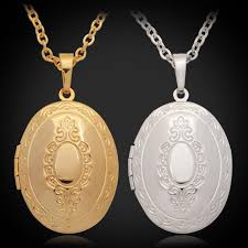 whole u7 vintage oval photo floating locket pendant necklace 18k gold platinum plated fashion jewelry perfect party birthday gift for women men gold