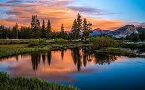 Nature Sky Mountain Lake Sunset Orange ...