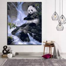 framework oil painting by numbers diy kits coloring waterfall side panda pick up bamboo pictures on canvas home decor wall art on panda wall art uk with shop panda animal pictures uk panda animal pictures free delivery