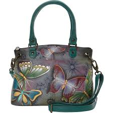 anna by chka hand painted leather small satchel leather handbag new