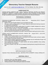 resume example for a elementary teacher