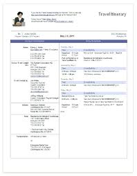 Business Trip Planner Business Trip Schedule Template Business Trip Itinerary Examples