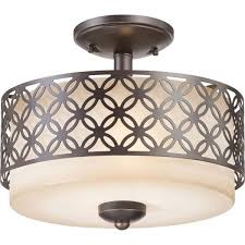 Flush Mount Kitchen Light Fixture With Warm White Fluorescent Bulbs Inside  Diy Drum Lamp Shade Frame