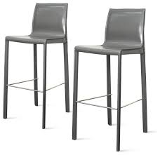 gervin recycled leather bar stools set of 2 modern bar stools and counter stools by new pacific direct inc