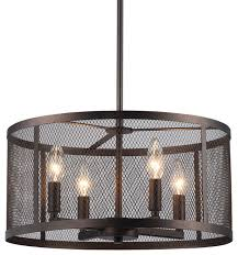aludra 4 light oil rubbed bronze round metal mesh shade pendant chandelier