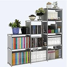 high quality 9 cube diy book shelf gray