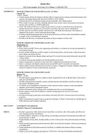 Communications Specialist Resume Senior Communications Specialist Resume Samples Velvet Jobs 17