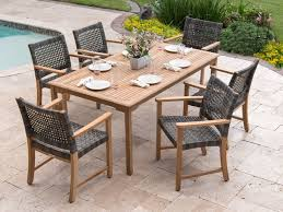 hampton 7 pc teak woven resin wicker dining set