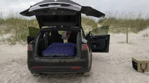 How To Setup An Air Mattress / Bed In A Tesla Model X For Car ...