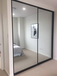 image 8 sliding mirror doors with black aluminium frame 2 door combination