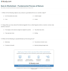 print the four fundamental forces of nature worksheet