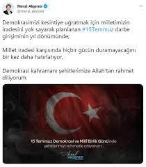 Meral Akşener'den '15 Temmuz' paylaşımı