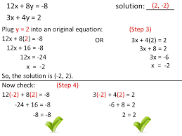 12x 8y 8 solution 3x 4y 2 10 solve the system of equations using the elimination