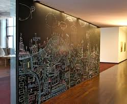 on chalk wall artwork with modern cave drawings by nate otto signal v noise