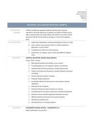 Hospital Resume Examples Volunteer Resume Template Best Resume