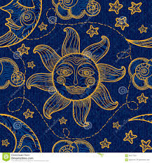 Moon Pattern Gorgeous Seamless Pattern With Sun Moon And Clouds Stock Vector