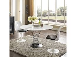 cyclone round wood top dining table set in white