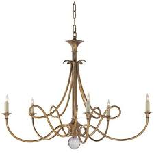visual comfort and company antique brass double twist five light chandelier
