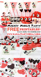 mickey mouse party with free party printables tags banner invitation cupcake toppers