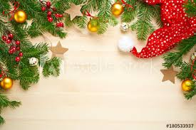 Blank Christmas Background Christmas Background Decoration With Stars Balls Santa Hat And Fir