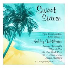 Beach Invitation Tropical Beach Sweet 16 Birthday Party Invitations Square Invitation Card