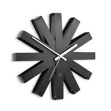 <b>Часы настенные Ribbon</b>, <b>черныe</b> оптом под логотип