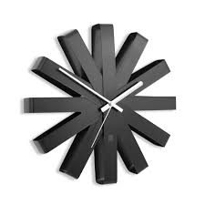 <b>Часы настенные Ribbon</b>, черныe оптом под логотип
