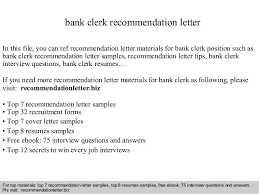 Sample Of Recommendation Letter Interesting Bank Clerk Recommendation Letter
