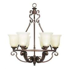 fairview 6 light heritage bronze chandelier with glass shades