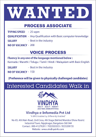 job vacancy for persons disability at leading bpo in  vindhya vacancy