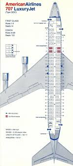 Vintage Airline Seat Map American Airlines Boeing 707 323