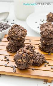 triple chocolate protein cookies on a serving plate