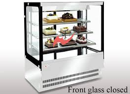 anti fog square cake display refrigerator food display cabinets with led lights