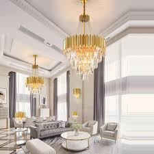 Luminaire Chandelier Lighting Led Postmodern Stainless Steel Crystal Art Deco Chandelier