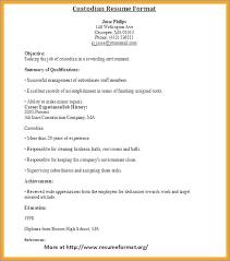 Custodian Job Description For Resume From Custodian Resume Sample