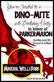 Jurassic Park Invitations Jurassic Park 4x6 Digital Invitation