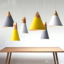 colorful pendant lights modern wood aluminum lamp shade dining room for home lighting ceiling large