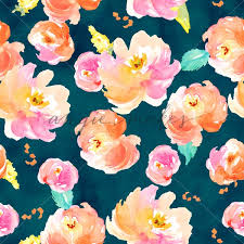 Floral Pattern Classy Navy Blue Flower Pattern Painted Watercolor Floral Pattern Angie