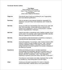 Functional Resume Pdf Free Functional Resume Outline Template Pdf Resume Outline Free