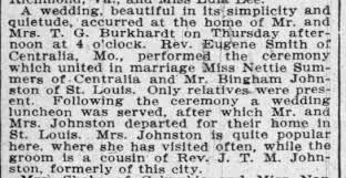 Bingham Johnston, Sr.; and, (2nd) wife, Nettie B. Summers: Wedding -  Newspapers.com