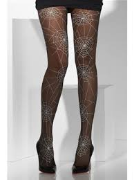 ball joint tights. spiderweb tights black with white - back view ball joint y