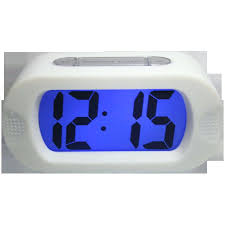 white digital alarm clock westclox oval p