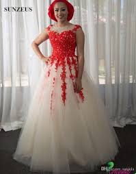 champagne tulle wedding dresses with red appliques lace african
