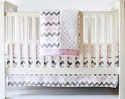 Amazon My Baby Sam Chevron 3 Piece Crib Bedding Set Pink