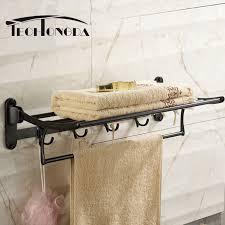 black wall mounted bathroom towel rail